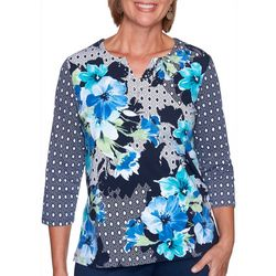 Alfred Dunner Womens Floral Patchwork Top
