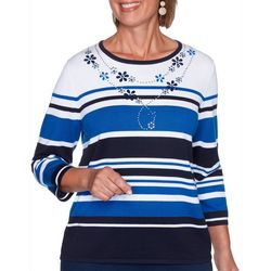 Alfred Dunner Womens Vacation Mode Stripe Embellish Sweater