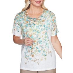Alfred Dunner Womens Cascade Leaves Scalloped Top