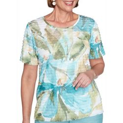 Alfred Dunner Womens Desert Oasis Dramatic Floral Ruffle