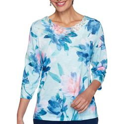 Alfred Dunner Womens Denim Friendly Watercolor Floral Top