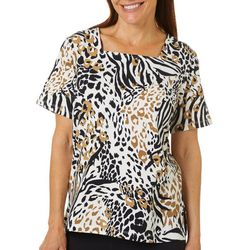 Alfred Dunner Womens Mixed Animal Print Square Neck Top