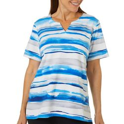 Alfred Dunner Womens Watercolor Striped Split Neck Top