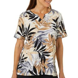 Alfred Dunner Womens Leaf Print Split Neck Top