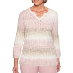 Alfred Dunner Womens Striped Popcorn Knit Biadere Sweater