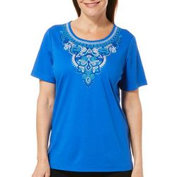 Alfred Dunner Womens Waikiki Embroidered Neckline Top