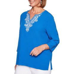 Alfred Dunner Womens Martinique Bubble Gauze Tunic Top