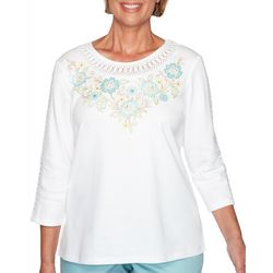 Alfred Dunner Womens Cottage Charm Embroidered Yoke Top