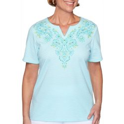 Alfred Dunner Womens Embroidered Crochet Trim Top