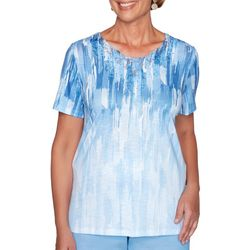 Alfred Dunner Womens Garden Party Embellished Print Top
