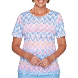 Alfred Dunner Womens Garden Party Zig Zag Print Top