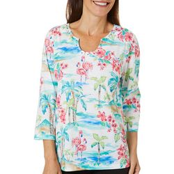 Alfred Dunner Womens Miami Beach Tropical Flamingo Top