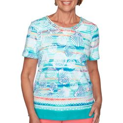 Alfred Dunner Womens Miami Beach Shell Striped Top