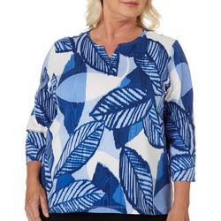 Alfred Dunner Womens Tropical Palm Leaves Top