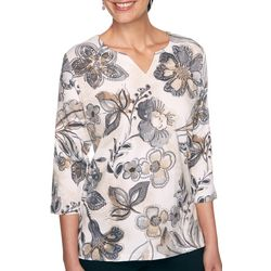 Alfred Dunner Womens Three Quarter Sleeve Floral Top