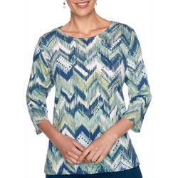 Alfred Dunner Womens Ikat Chevron Top