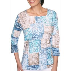 Alfred Dunner Womens Three Quarter Sleeve Patchwork Top