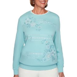 Alfred Dunner Womens Floral Biadere Sweater