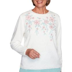 Womens Quilted Chenille Floral Sweater