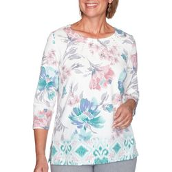 Alfred Dunner Womens Floral Embellished 3/4 Sleeve Blouse