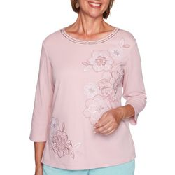 Alfred Dunner Womens Solid Embroidered Flower Blouse