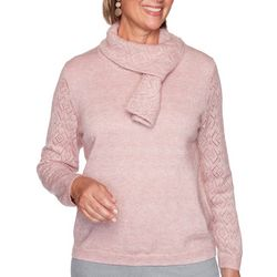 Alfred Dunner Womens Pointelle Scarf Sweater