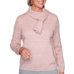 Womens Pointelle Scarf Sweater