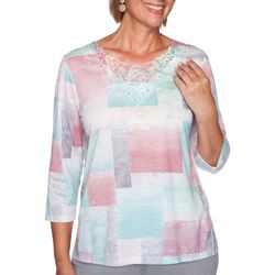 Alfred Dunner Womens Lacey Shapes 3/4 Sleeve Top