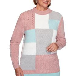 Womens Chenille Color Block Sweater