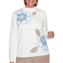 Womens Floral High Neck Sweater