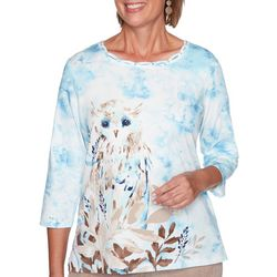 Alfred Dunner Womens Snowy Owl Embellished Neck Top