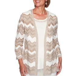 Alfred Dunner Womens Chevron 2-For-1 Pointelle Sweater