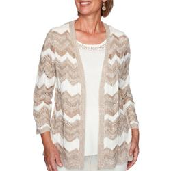 Womens Chevron 2-For-1 Pointelle Sweater