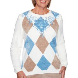 Alfred Dunner Womens Argyle Embroidered Sweater