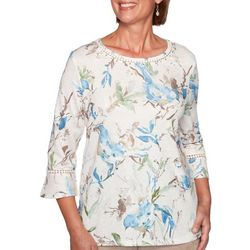 Alfred Dunner Womens Birds Bell Sleeve Top