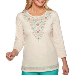 Alfred Dunner Womens Coastal Drive Embroidered Top