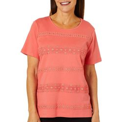 Alfred Dunner Womens Lace Trim Biadere Top