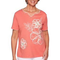 Alfred Dunner Womens Coastal Drive Embroidered Floral Top