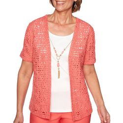 Alfred Dunner Womens Coastal Drive Textured Lace Duet Top