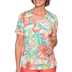 Alfred Dunner Womens Coastal Drive Tropical Flowers Top