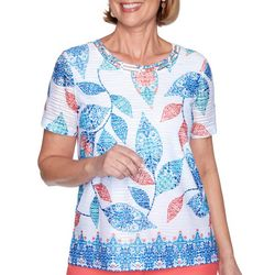 Alfred Dunner Womens Kaleidoscope Leaves Top