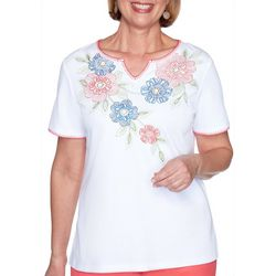 Alfred Dunner Womens Embroidered Flowers Top