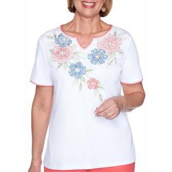 Womens Embroidered Flowers Top