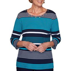 Alfred Dunner Womens Easy Street Striped Top