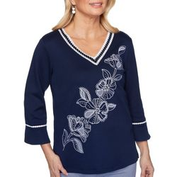 Alfred Dunner Womens Easy Street Floral Embroidered Top