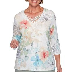 Alfred Dunner Womens Chesapeake Bay Animal Floral Print Top
