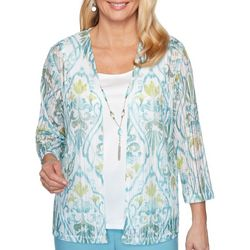 Alfred Dunner Womens Chesapeake Bay Tile Print Duet Top