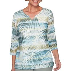 Alfred Dunner Womens Chesapeake Bay Palm Stripe Top