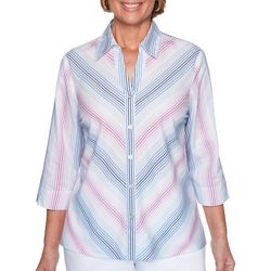 Alfred Dunner Womens Petal Pushers Ombre Stripe Top
