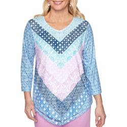 Alfred Dunner Womens Petal Pushers Patchwork Chevron Top